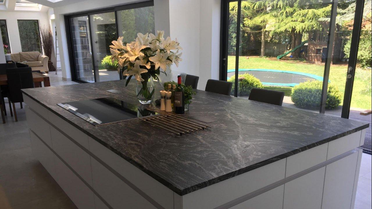 Black Storm Leather Granite Worktops From Mayfair Granite